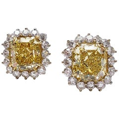 Scarselli 7 Carat Each Fancy Vivid Yellow Statement Earrings in Platinum, GIA