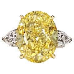 Scarselli 8 Carat Fancy Intense Yellow Diamond GIA in a Platinum Engagement Ring