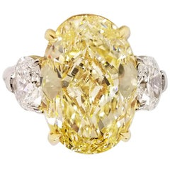 9 Carat Oval Fancy Yellow Diamond Engagement Three Stones Ring GIA