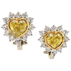 Scarselli Clip-On Heart Shape Fancy Yellow Diamond Earrings GIA