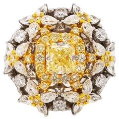 Scarselli Cocktail Ring with 1.00 Carat Fancy Yellow Radiant Diamonds GIA