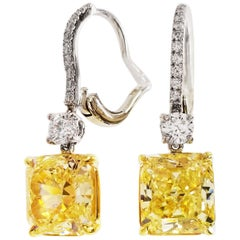SCARSELLI Dangle Earrings in Platinum 3 Carat Fancy Intense Yellow Each GIA