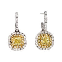 Scarselli Dangle Earrings in Platinum Fancy Yellow Diamonds 0.5 Each, GIA