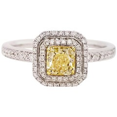 Scarselli Engagement Ring with Natural Fancy Light Yellow Diamond