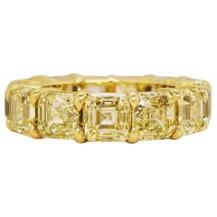 Scarselli Eternity Band 1.00 Carat Fancy Yellow Asscher Diamonds GIA Certified