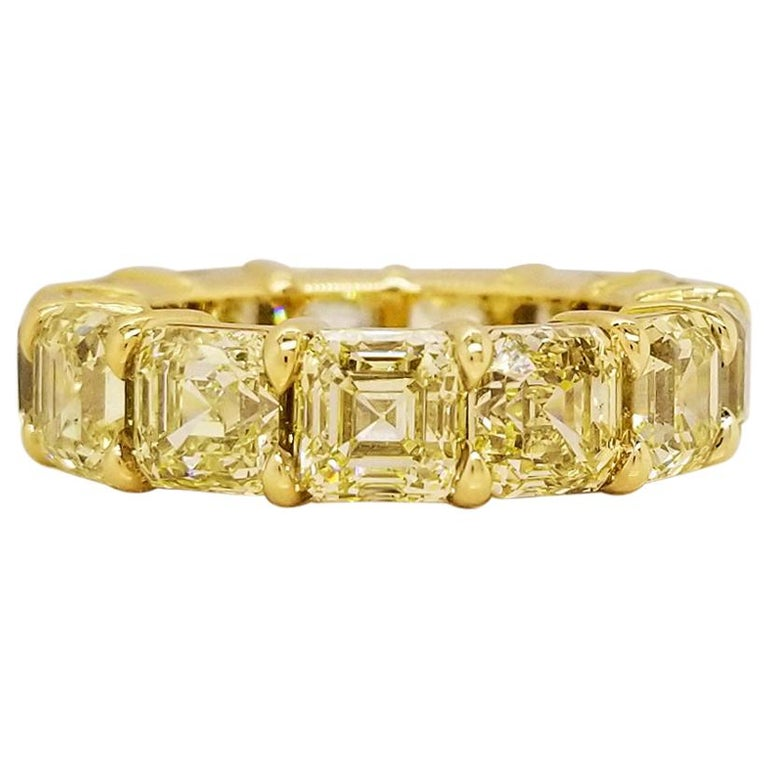 Scarselli Eternity Band 1.00 Carat Fancy Yellow Asscher Diamonds GIA Certified For Sale