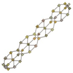 Scarselli Fancy Color Diamond Bracelet Cuff 22.41 Carat