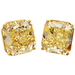 Scarselli Stud Earrings 7 carat Yellow Diamond each set in 18k Yellow Gold