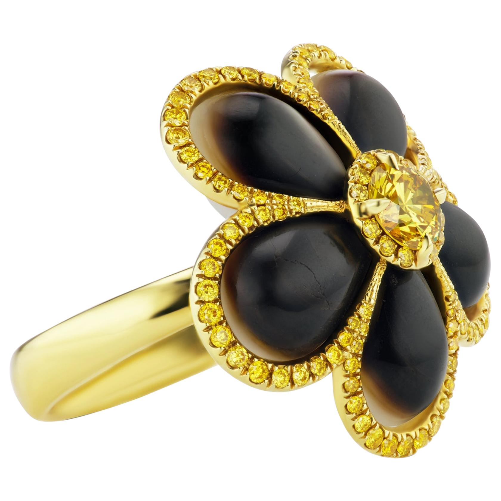 SCARSELLI Fancy Vivid Yellow Diamond Mother of Pearl 18 Karat Gold Ring