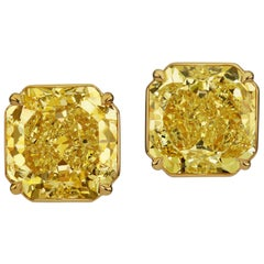 Scarselli Fancy Yellow Radiant Cut Diamond Earrings 16.75 Carat in Yellow Gold