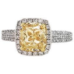 Scarselli GIA 2 Cushion Cut Fancy Yellow Diamond Engagement Ring in 18 Karat