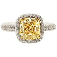 Scarselli Halo Engagement Ring 2.00 Carat Fancy Light Yellow Diamond