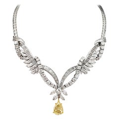 Scarselli Infinite Necklace 4.15 Carat Fancy Yellow Pear Shape Diamond, GIA