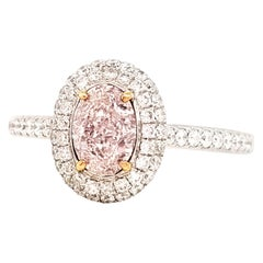 Scarselli Oval Halo 0.82 Pink Diamond Engagement Ring in 18 Karat White