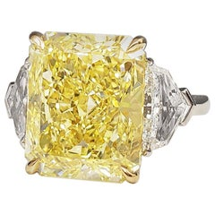 Scarselli Platinum Engagement Ring 10 Carat Intense Yellow Diamond GIA
