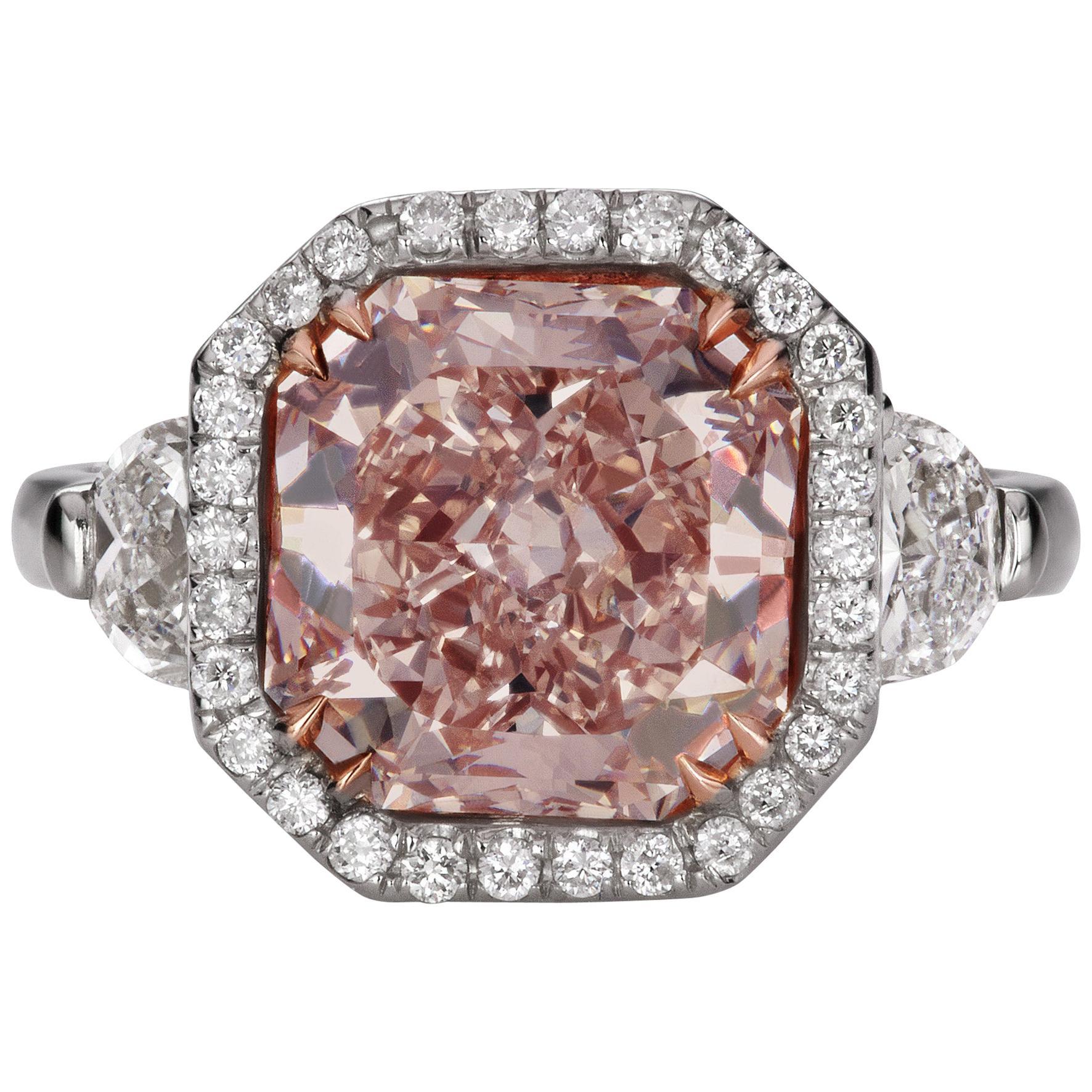 Scarselli Platinum Ring 4 Carat Fancy Pink Diamond GIA Certified