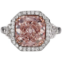 Scarselli Platinum Ring 4 Carat Fancy Pink Diamond GIA Certified