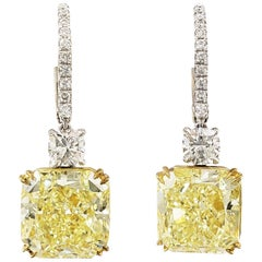 Scarselli Radiant Fancy Yellow Drop Earrings in Platinum