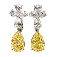 Scarselli Drop Earrings Yellow Pear Diamonds 4 carat each GIA Certified