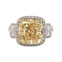Scarselli Six Carat Fancy Yellow Cushion Cut Diamond Ring in Platinum, GIA