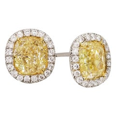 SCARSELLI Stud Platinum Earrings 2 Carat Fancy Yellow Diamond Each GIA