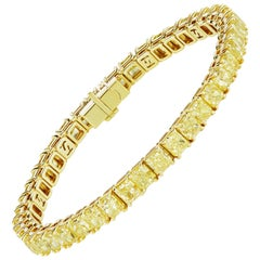Scarselli Yellow Diamond Line Bracelet 32.63 Carat, GIA