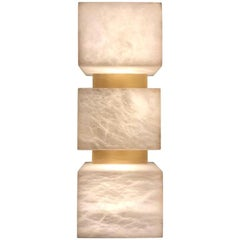 Scatola Wall Sconce, Alabaster Cubes, Brushed Patinated Brass