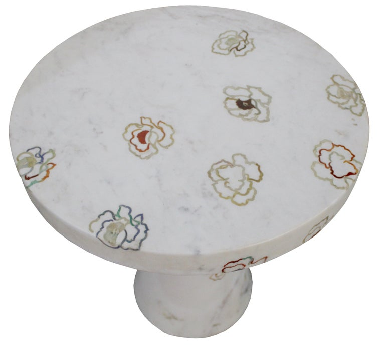 American Repeating Roses Table, Pietra Dura. By Stephanie Odegard Co. Ltd. For Sale