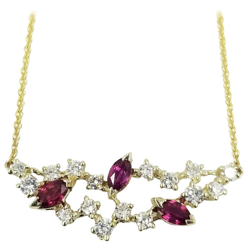Scattered Ruby and Diamond Pendant Necklace