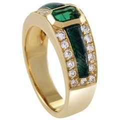 Scavia Womens 18 Karat Yellow Gold Diamond and Emerald Band Ring