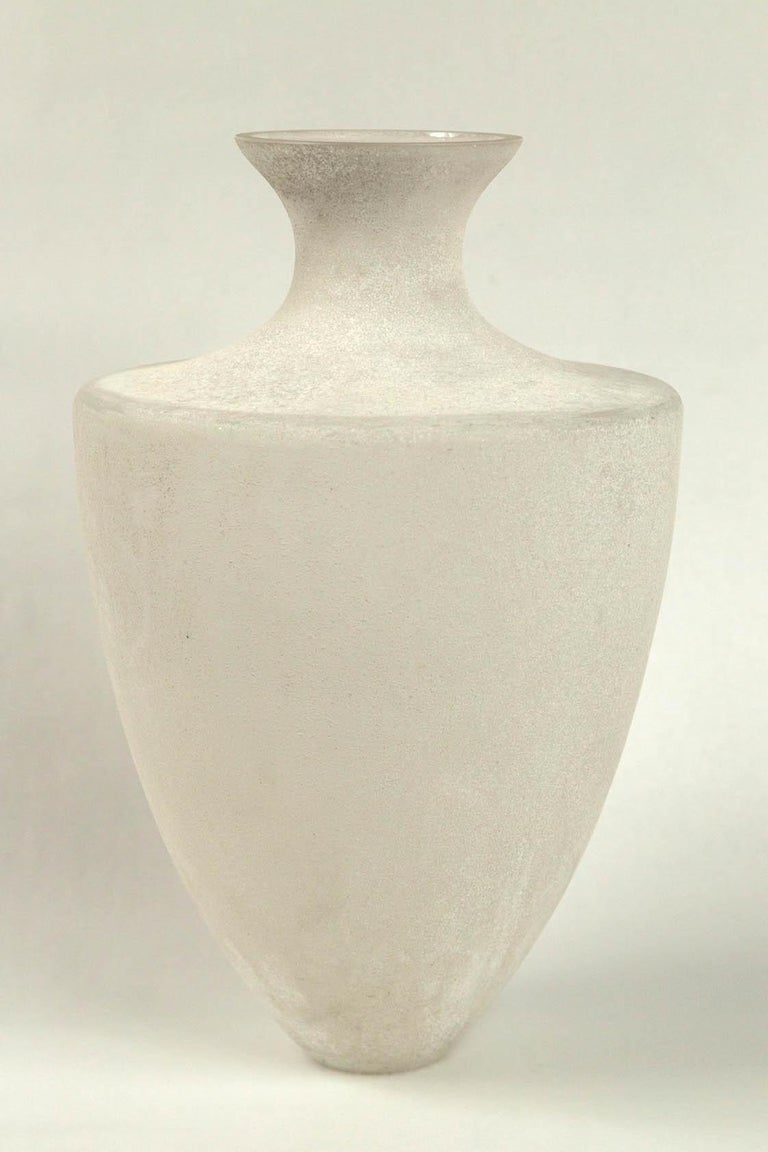 Scavo glass vase by Seguso, Murano, Italy, 20th century. A large neoclassic shape vase with Scavo (frosted) finish. Scavo glass was developed in Murano in the 1940s to simulate excavated antique Roman glass.