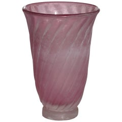"""Scavo"" Murano Glass 1950s by Gino Cenedese Pink Vase"