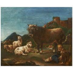 Scena Pastorale, Rosa da Tivoli, 17th Century Oil on Canvas Landscape Painting