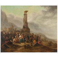 Scena Religiosa-Theodor Helmbreker 17th Century Oil on Canvas Religious Painting
