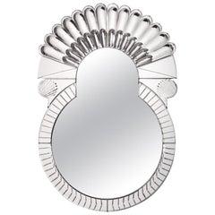Scena Rotonda Small Murano Glass Carved Mirror by Portego