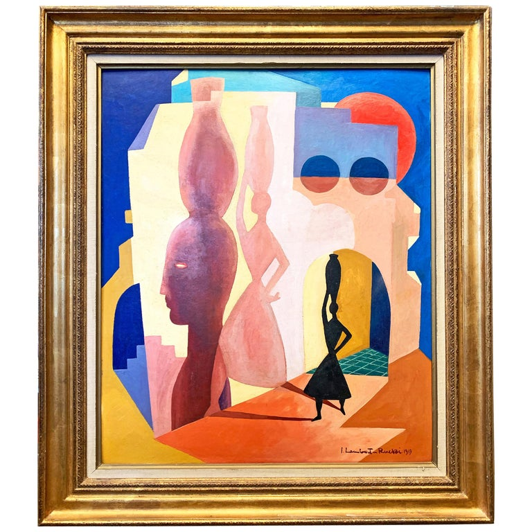 """""""Scene from Italy,"""" Fabulous Scene w/ Woman and Jar in Coral, Deep Blue and Rose For Sale"""