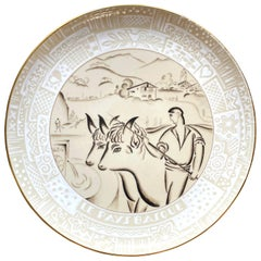 """Scene from Northern Basque Country,"" Monumental Art Deco Platter, Sèvres, 1936"