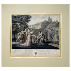 Scene of Duchess La Valliere and Louis XIV Antique French Colored Engraving