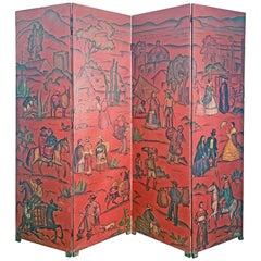 """Scenes from Mexico,"" 1940s Oxblood Folding Screen by José A. Monroy, Muralist"
