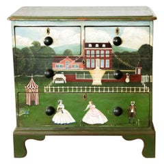 Scenic Painted Four-Drawer Chest