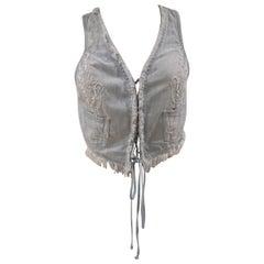 Scervino light blue cotton denim vest