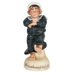 Schafer & Vater Porcelain Painted Sailor Figure Titled We Dont Want to Fight