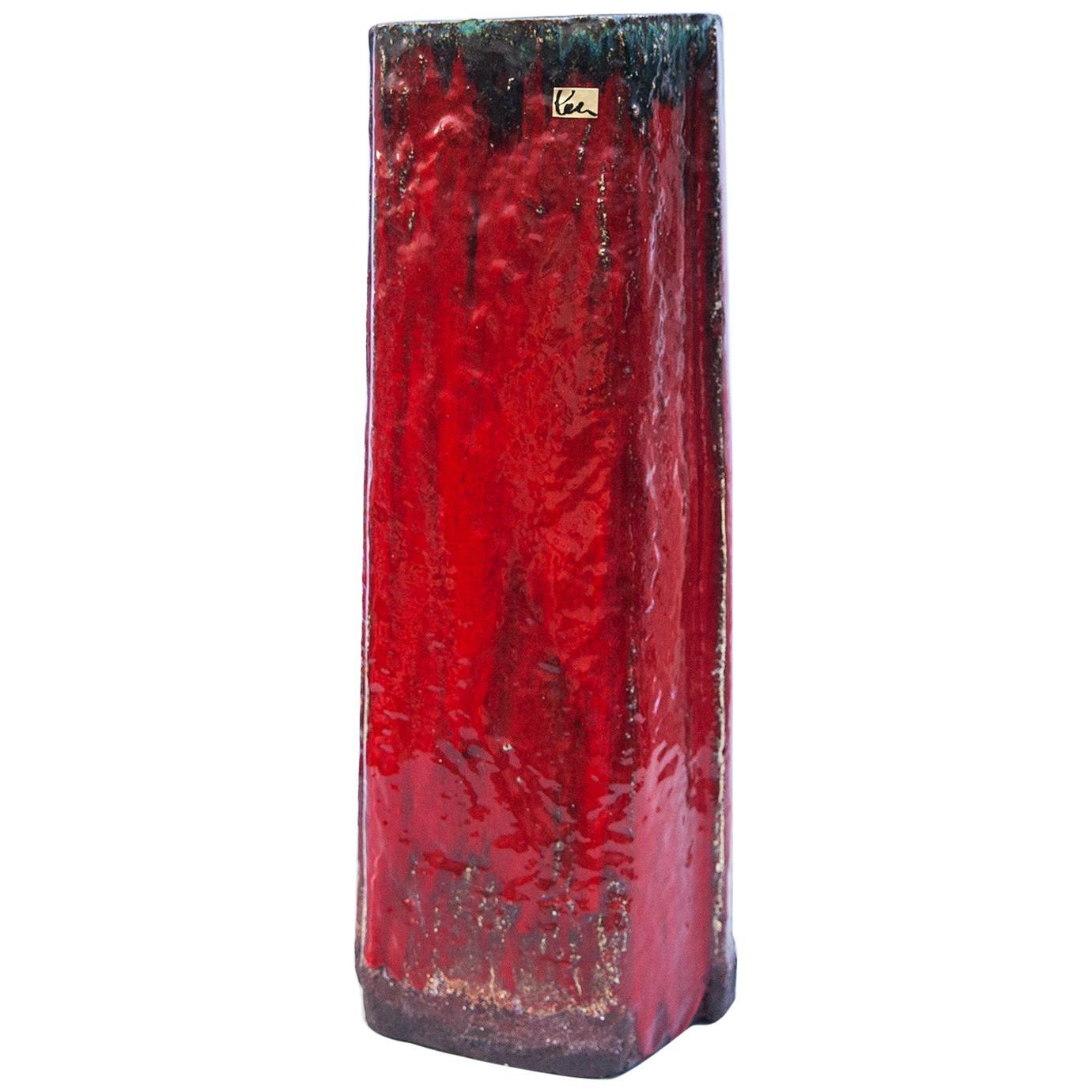 Schäffenacker Ceramic Floor Vase Red, 1963