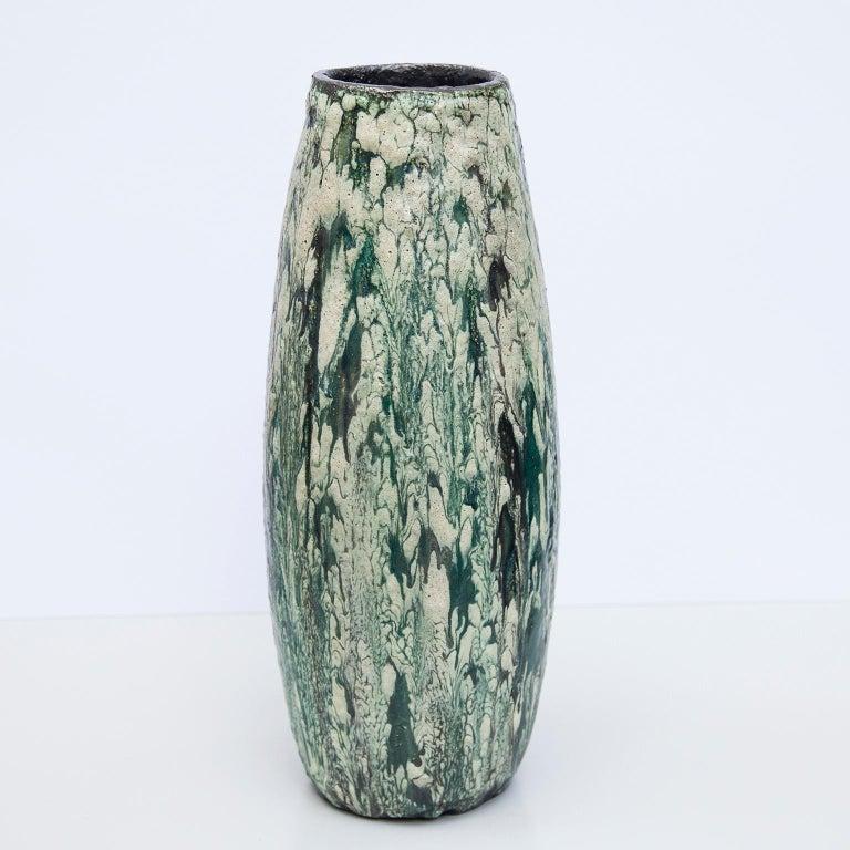 Mid-Century Modern Schäffenacker Floor Vase Green White, 1960s For Sale