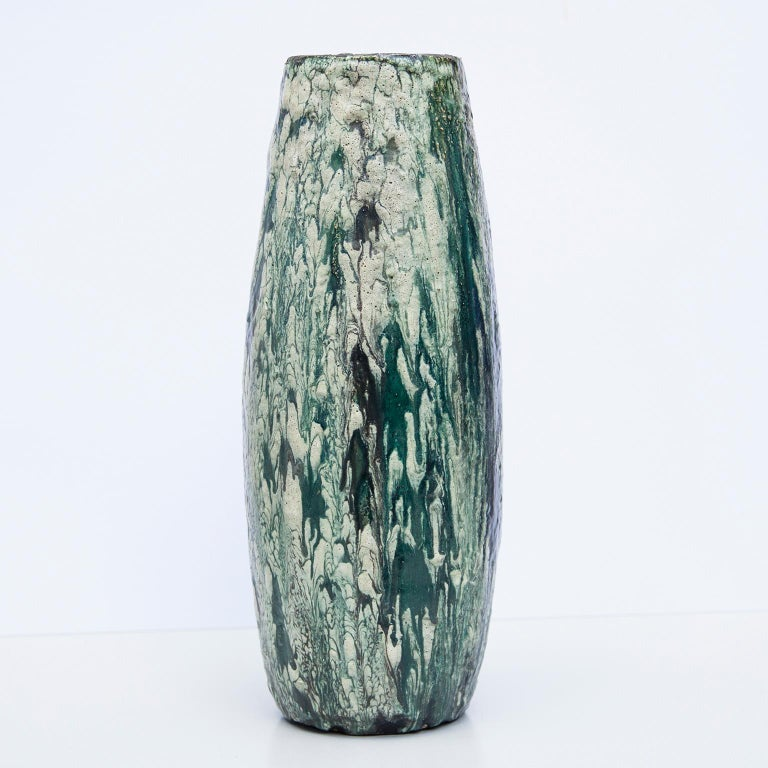 German Schäffenacker Floor Vase Green White, 1960s For Sale
