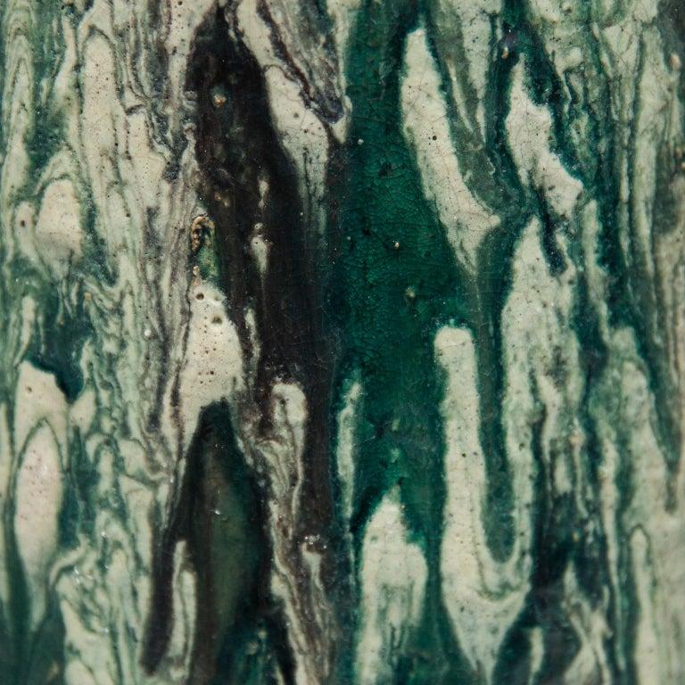 Schäffenacker Floor Vase Green White, 1960s In Excellent Condition For Sale In Munich, DE