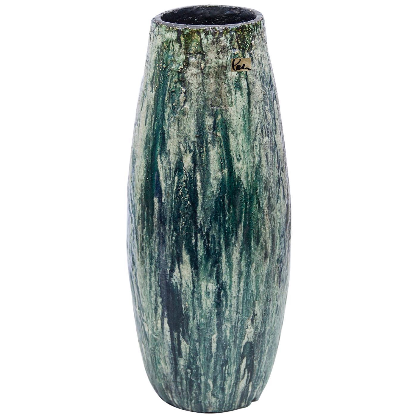Schäffenacker Floor Vase Green White, 1960s