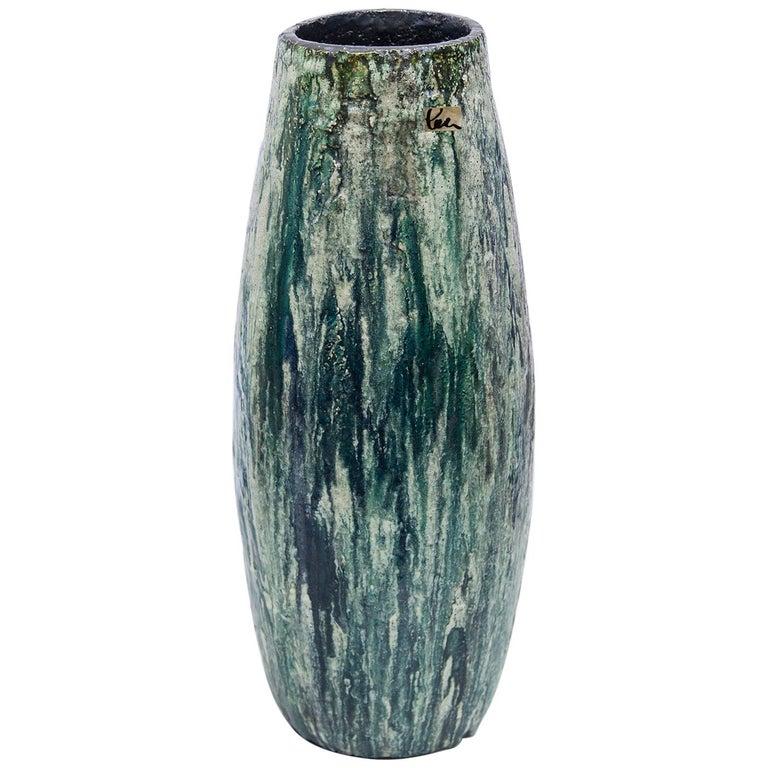 Schäffenacker Floor Vase Green White, 1960s For Sale