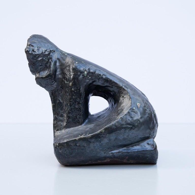 Schäffenacker Human Sculpture Black Glazed Ceramic Object, 1960s In Excellent Condition For Sale In Munich, DE