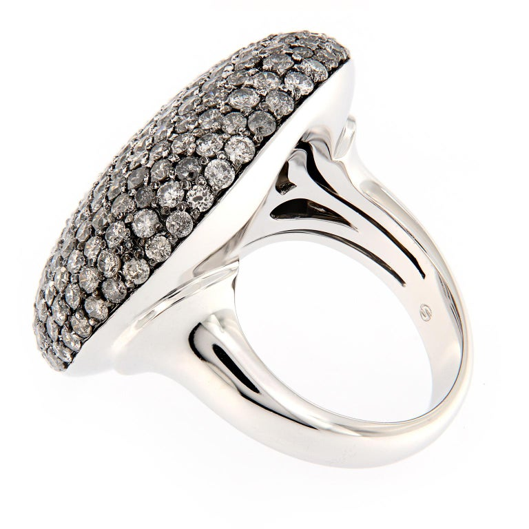 Scheffel Fancy Grey Diamond Cluster Dome Cocktail Ring In New Condition For Sale In Troy, MI